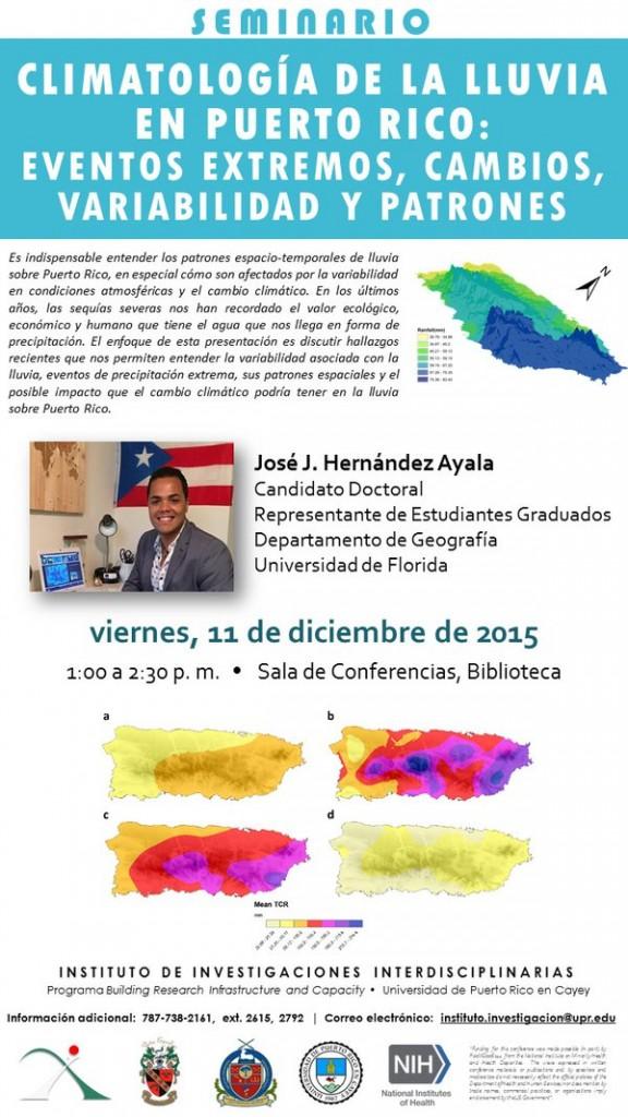 Promoción ha actividad de Seminario: Climatología de la lluvia en Puerto Rico
