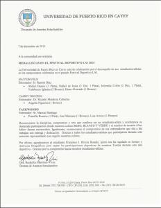 Imagen de la carta a la comunidad universitaria con felicitación a los estudiantes-atletas que participaron de la LAI.