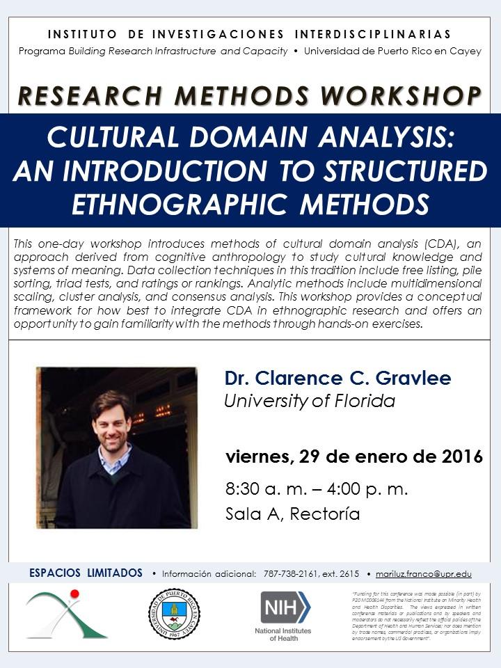 Imagen de promoción al taller: Cultural Domain Analysis: An Introduction to Structured Ethnographic Methods