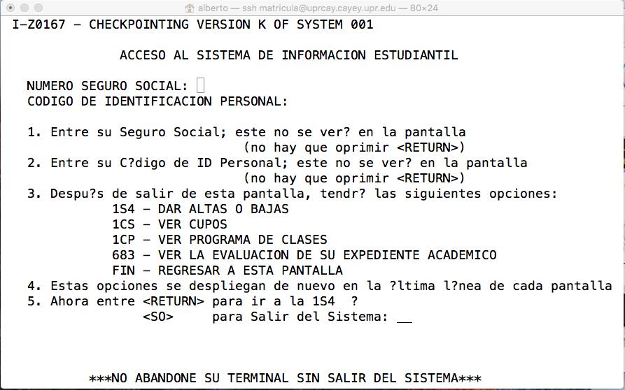 Imagen representativa de configuración para entrar a la área de matrícula de UPR Cayey usando el terminal de Mac Os cuarta pantalla