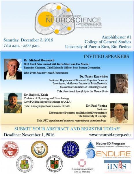 Promoción a la actividad: 25th annual Puerto Rico Neuroscience Conference 2016