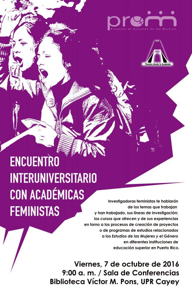Imagen del poster de promoción de la actividad Encuentro Interuniversitario con Académicas Feministras