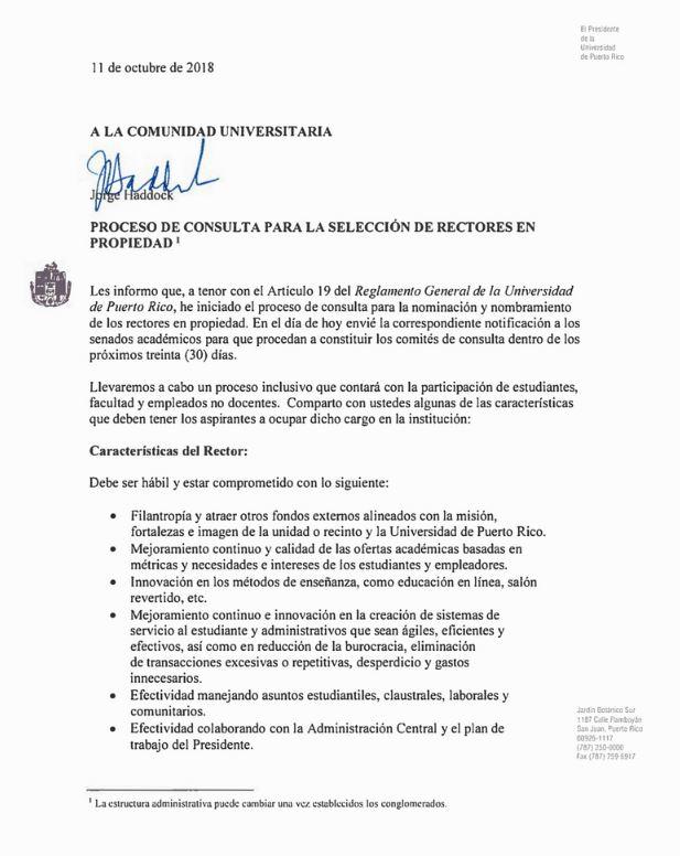 Imagen representativa a la carta del Presidente de la UPR respecto a los Rectores