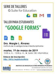 Imagen representativa a promocio de taller de Google Forms