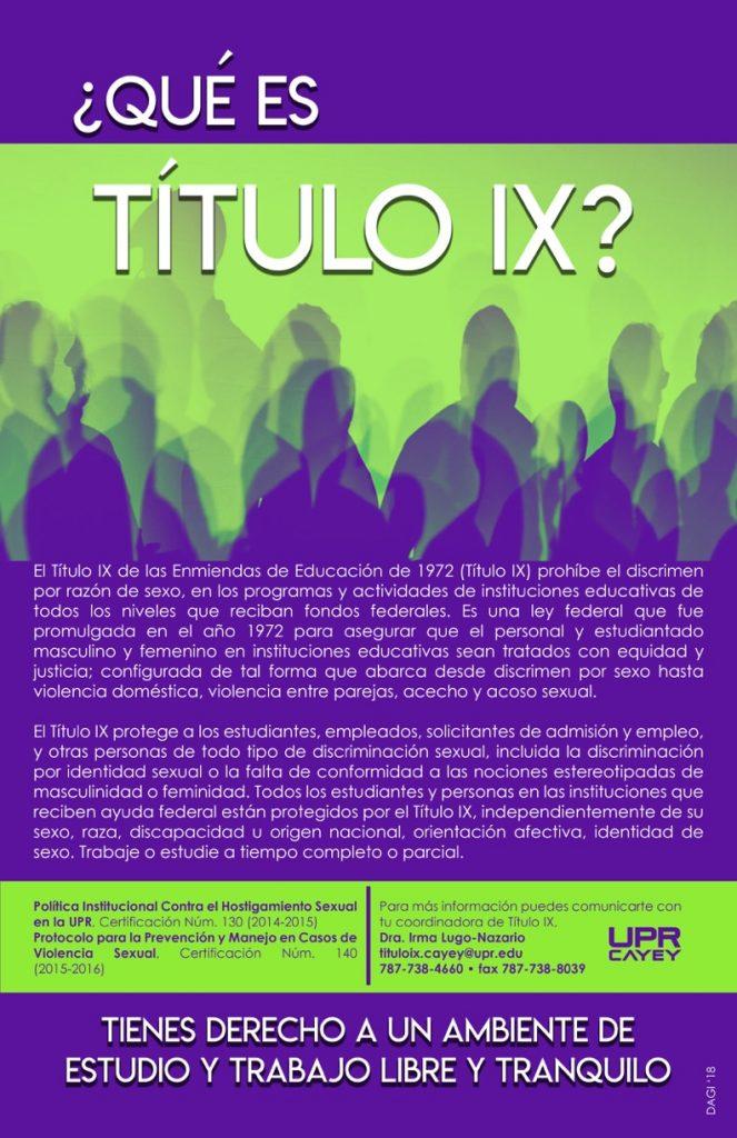 Imagen representativa al Aficehe del programa Titulo IX de la UPR Cayey