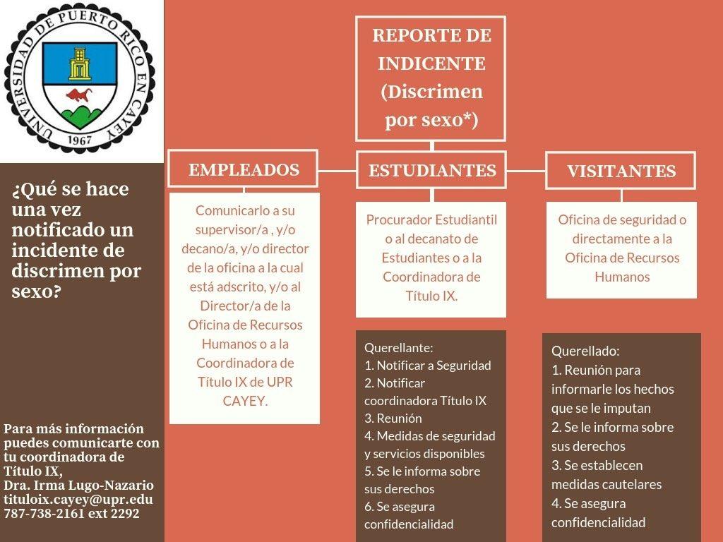 Imagen representativa al Organigrama de orientación ¿Qué se hace una vez notificado un incidente de discrimen por sexo?