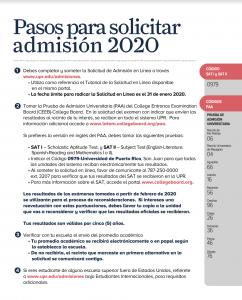Imagen de los pasos para solicitar admisión para usarlo de enlace a la información.