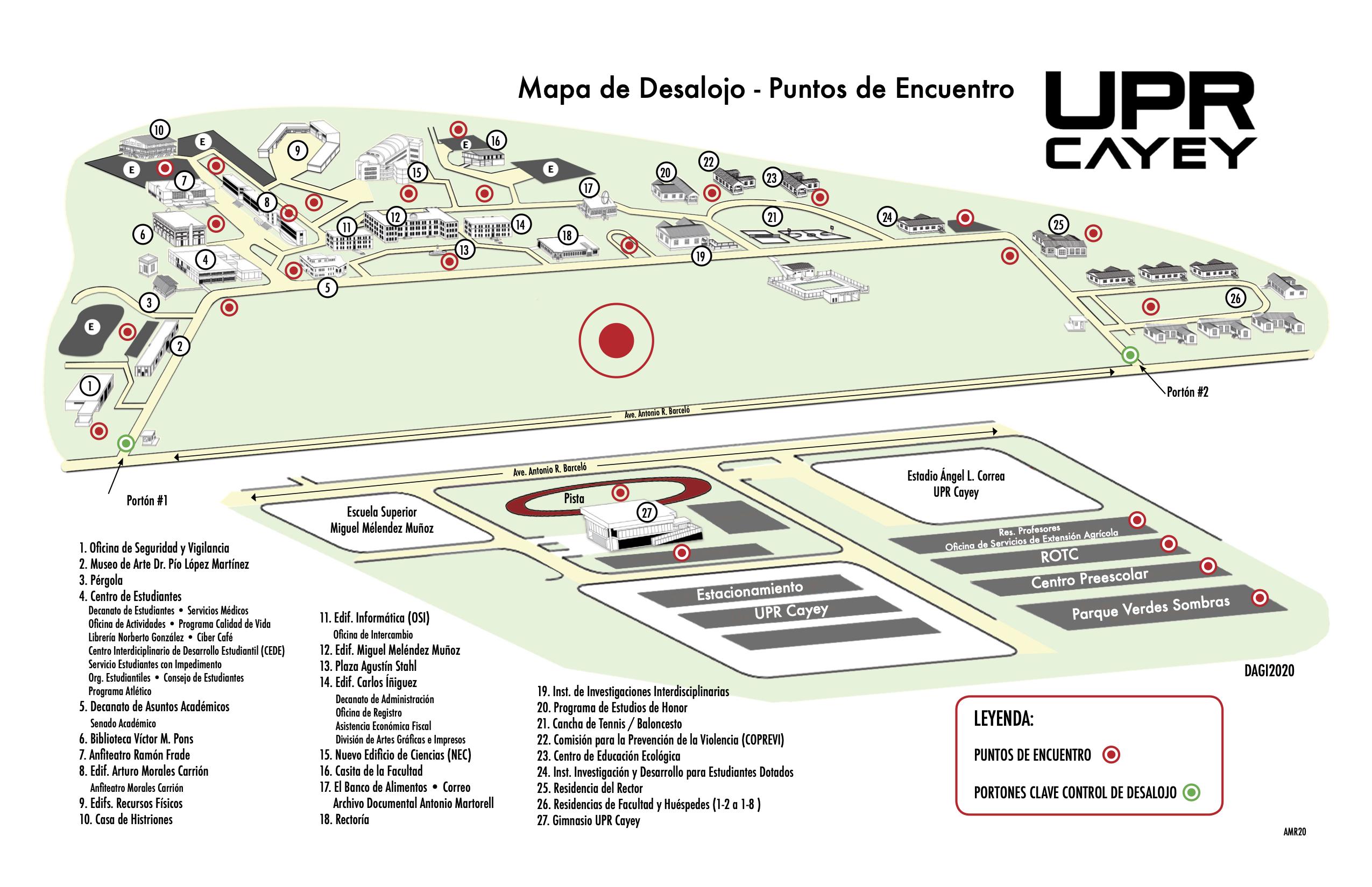Imagen mapa de desalojo UPR Cayey