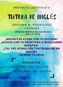 Publicidad Adriana Rodríguez Tutora Inglés CAETV