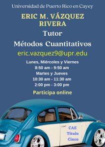 Publicidad Eric Vázquez Tutor Métodos Cuantitativos CAETV